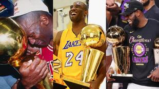 Montaje con Michael Jordan, Kobe Bryant y LeBron James con el trofeo...