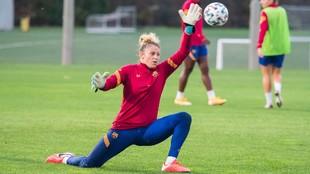 Sandra Paños, durante un entrenamiento en la Ciudad Deportiva Joan...