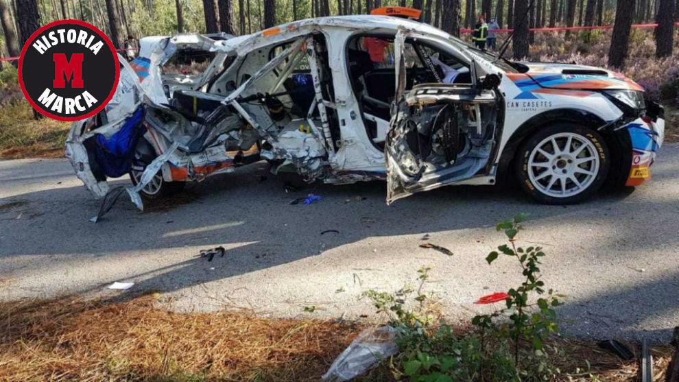 Así quedó el vehículo que copilotaba Laura Salvo.