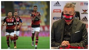 A la izquierda, Bruno Henrique celebra un gol. A la derecha, Domènec...