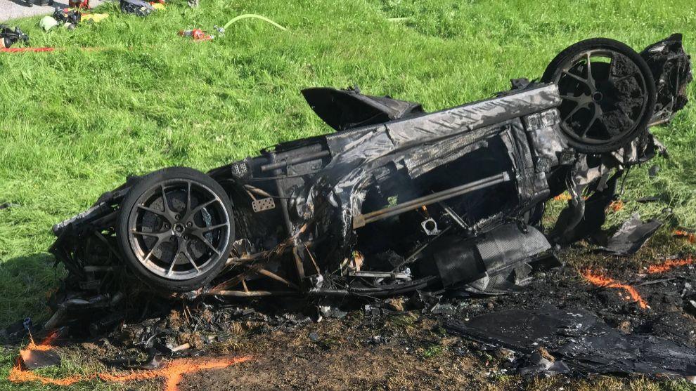 Así quedó el Rimac Concept One de su accidente en 2017.