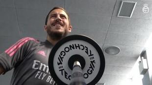 Edene Hazard, trabajando en el gimnasio de Valdebebas.