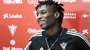 El futbolista, durante su rueda de prensa hoy.