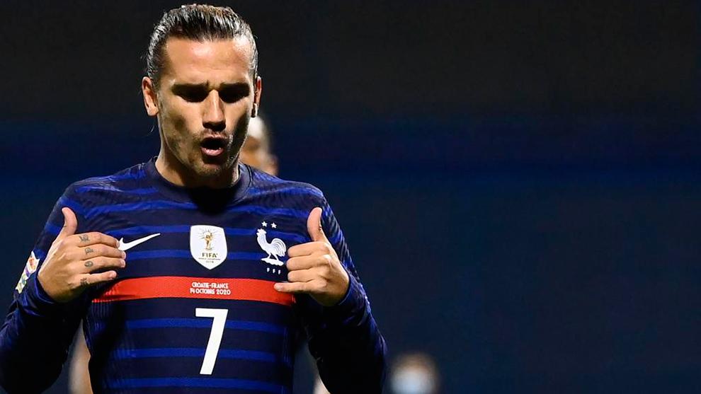 Griezmann festeja su gol con Francia.