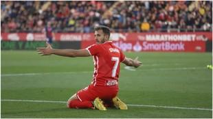 Stuani celebra uno de los goles marcados con el Girona
