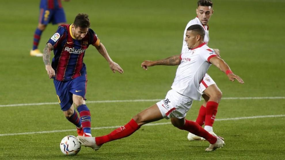 Messi, durante el encuentro contra el Sevilla.