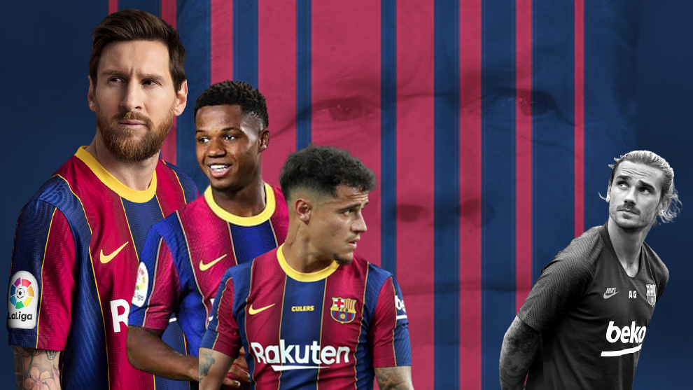 Delantera del Barcelona: Messi, Ansu Fati, Coutinho y Griezmann