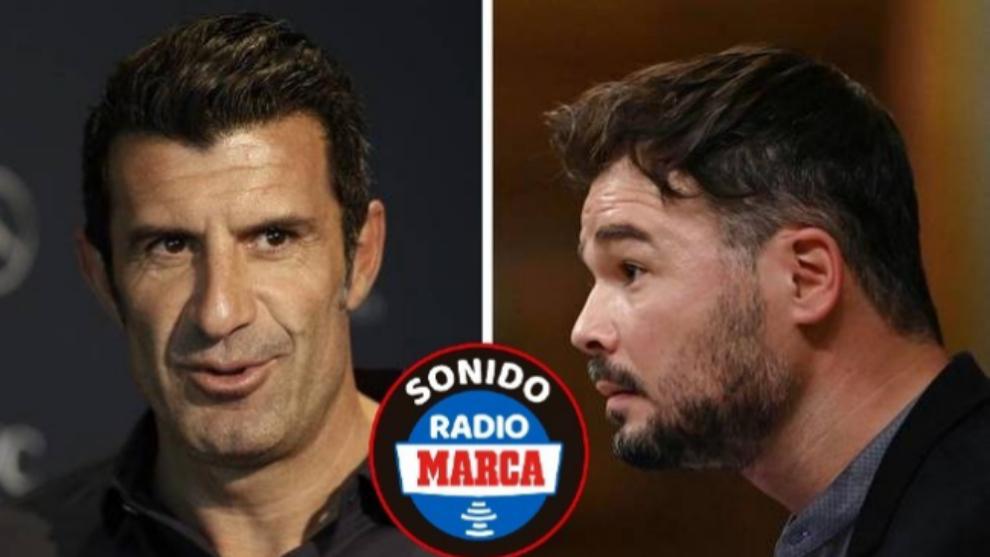 """La propuesta de Rufián a Figo en Radio MARCA: """"Quedaría con él para comer y hablar de fútbol"""""""