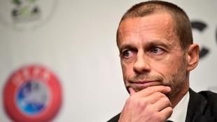 Aleksander Ceferin, en una fueda de prensa tras una reunión con la...