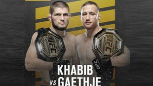 Cartel de la pelea entre Khabib y Gaethje el 24 de octubre.