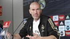Zidane, en la sala de prensa de Valdebebas.