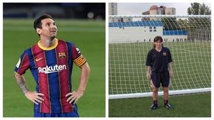 Lionel Messi, hoy y en su juventud con el Barcelona.