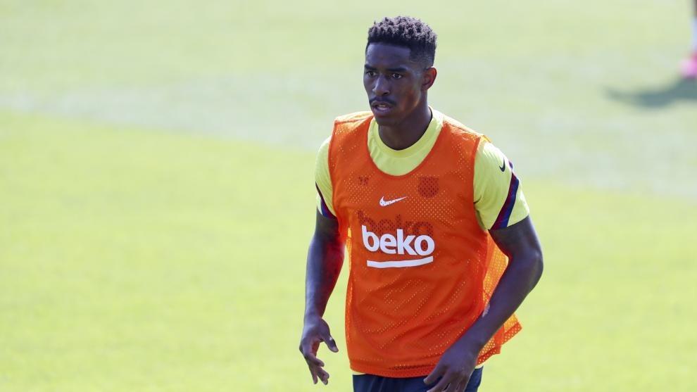 Junior Firpo, en una sesión con el Barcelona