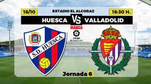 Huesca - Valladolid: horario y donde ver por television hoy el partido...