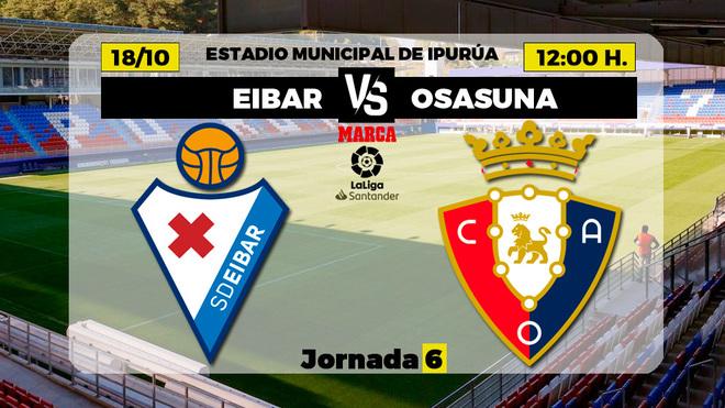Alineaciones confirmadas del Eibar-Osasuna: Atienza, de inicio en los armeros