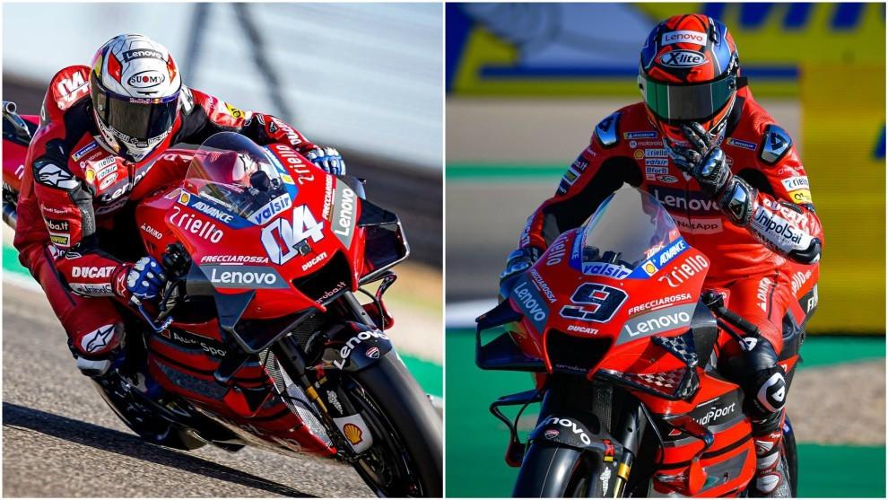 Dovizioso y Petrucci, en el GP de Aragón.