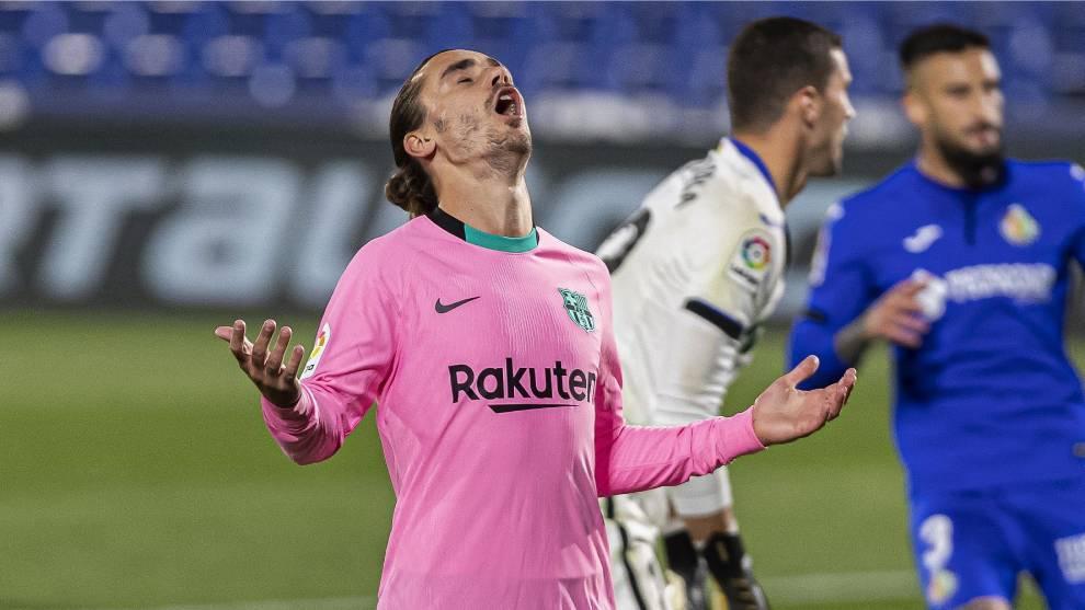 Griezmann se lamenta tras fallar un gol