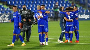 El Getafe celebrando un gol contra el Barcelona en la jornada 6 de...