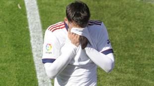 Calleri retirandose entre lágrimas en el encuentro disputado hoy