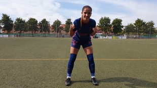 Elena Martínez posa en El Vivero tras debutar con el primer equipo...