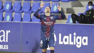 Sandro celebra su gol ante el Valladolid.