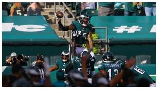 J. Arcega-Whiteside celebra el touchdown ante los Ravens.