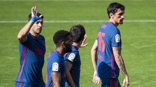 Suárez celebra su gol en Balaídos.