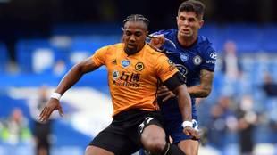Adama, en un partido contra el Chelsea.