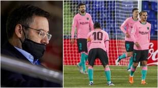Bartomeu y los jugadores del Barcelona.