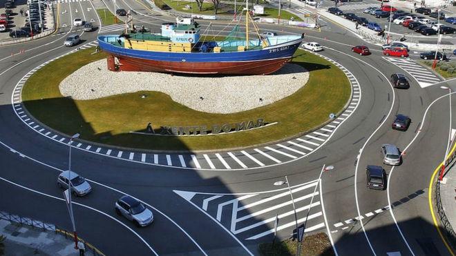 La turbo rotonda de Coia, en Vigo.