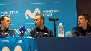 Los tres líderes del Movistar durante una rueda de prensa