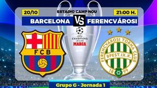El Barcelona recibe esta noche al Ferencváros