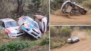 Resulta cómico... pero pudo ser dramático: ¡5 accidentes en la misma curva de un rally!