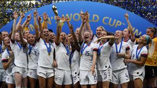 Estados Unidos celebra su triunfo en el Mundial de Francia 2019.