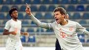 Muller celebra un gol con el Bayern