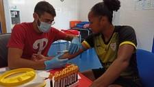 Jade Boho, jugadora del EDF Logroño, realizándose un test.