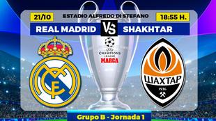 Real Madrid - Shakhtar Donetsk: horario, canal y donde ver hoy el...
