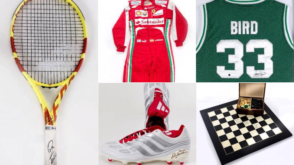 La raqueta de Nadal, el mono de Alonso, la camiseta de Bird... las estrellas subastan sus 'joyas' por una buena causa
