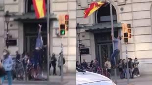 Intenta quitar una bandera de España de un mástil pero su idea no salió como esperaba