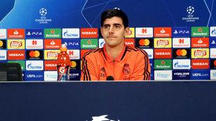 Thibaut Courtois, durante una rueda de prensa de la Champions