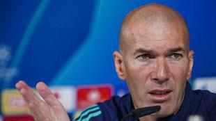 Zinedine Zidane, durante una comparecencia en la Champions