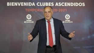 Javier Tebas, presidente de LaLiga, en el acto de este martes.