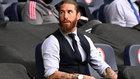 Sergio Ramos, en la grada durante el partido ante el City de Champions