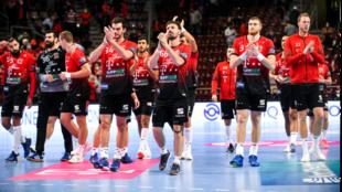 Los jugadores del Veszprém celebran una victoria /