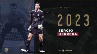 Sergio Herrera renueva con Osasuna hasta 2023