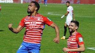 Yángel Herrera celebra el gol ante el Sevilla