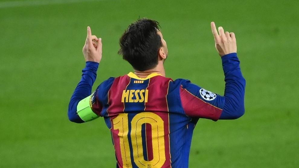 Messi celebra el gol contra el Ferencváros