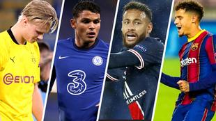 Erling Haaland, Thiago Silva, Neymar y Coutinho.