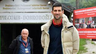 Djokovic, durante la visita a Visoko
