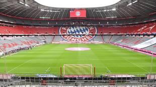 Allianz Arena vacía y preparado para el encuentro e esta noche